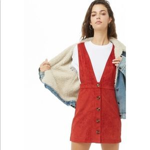NEW Forever 21 Pinafore Suede Dress